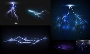 夜晚空中闪现的闪电元素矢量素材V1