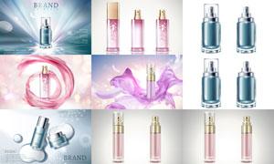 丝绸光效装饰的护肤品广告矢量素材