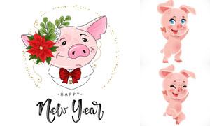 可爱的粉红猪卡通角色设定矢量素材