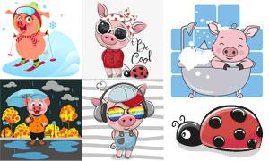 戴着墨镜的可爱猪创意设计矢量素材