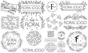黑白线描风格花纹装饰元素矢量素材