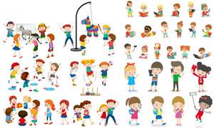 在学习玩耍的卡通儿童人物矢量素材