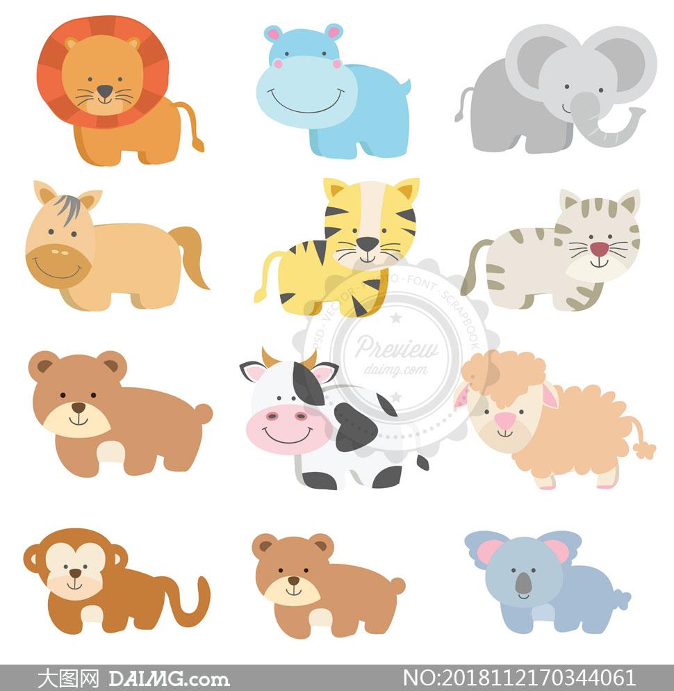 十六款可爱风卡通动物主题矢量素材