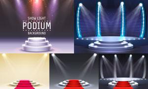 红地毯与舞台灯光效果创意矢量素材