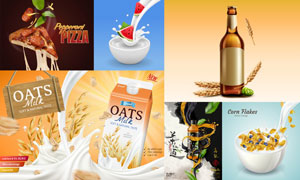牛奶与披萨等美食主题海报矢量素材