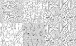 黑白线条风格无缝拼接背景矢量素材