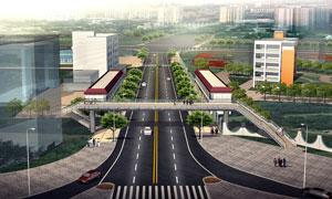 横跨在道路上的人行天桥渲染图素材