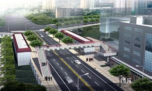城市道路人行天桥项目渲染效果图片