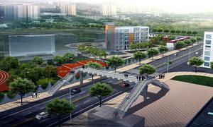 人行天桥与城市景观效果图高清图片