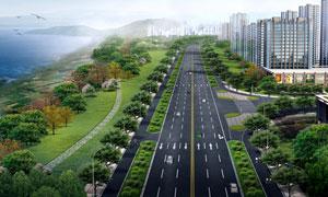 海边城市建筑绿化景观渲染效果图片