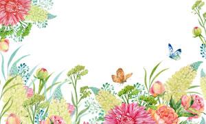 红色花卉植物与蝴蝶等水彩高清图片
