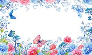 水彩风格蝴蝶花朵边框背景高清图片