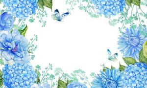 水彩风格花朵与飞舞的蝴蝶高清图片