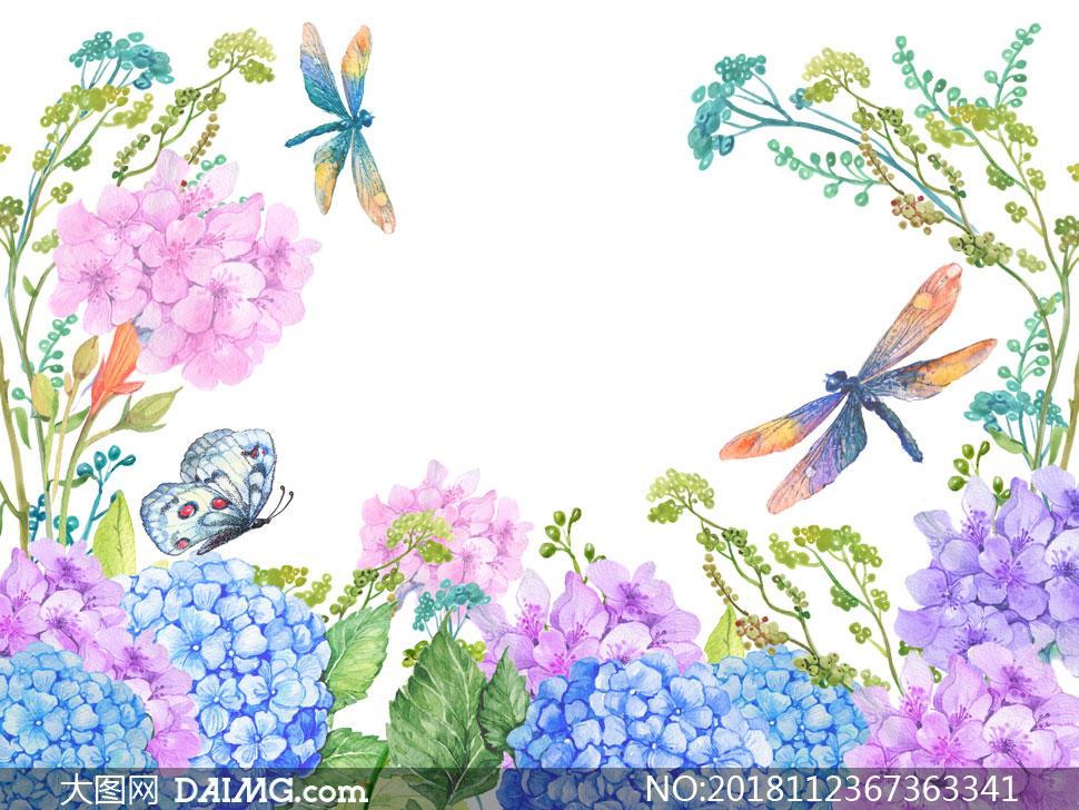 被蜻蜓蝴蝶环绕的水彩花朵高清图片