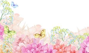 水彩效果粉红色的花卉植物高清图片