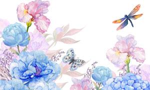 水彩风繁花丛中的蝴蝶创意高清图片