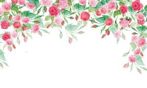 绿叶红花边框水彩效果创意高清图片