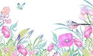 水彩创意花草植物小鸟主题高清图片