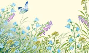 春天花草植物水彩手绘创意高清图片
