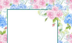 粉红色的花朵边框水彩创意高清图片