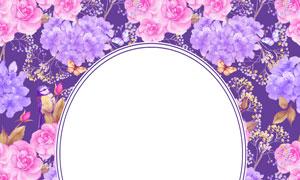 鲜艳花朵装饰圆形边框水彩创意图片