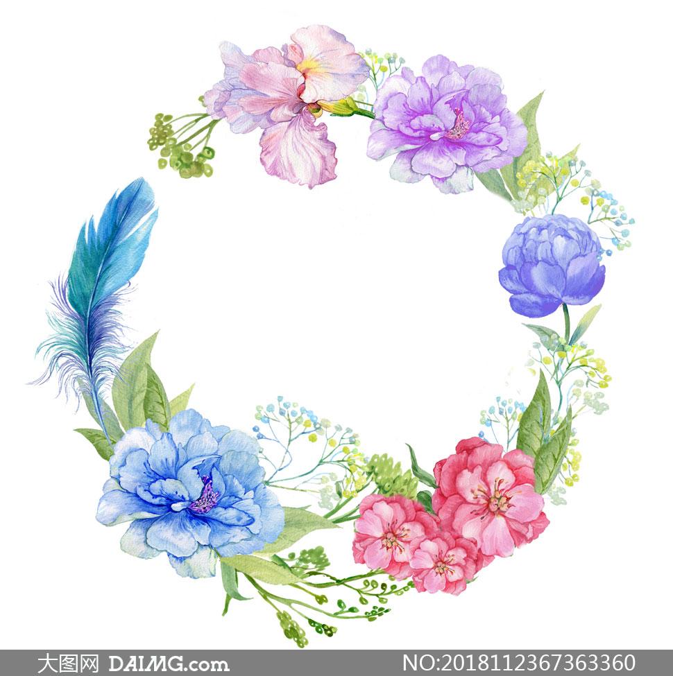 羽毛与鲜花组成的边框水彩创意图片