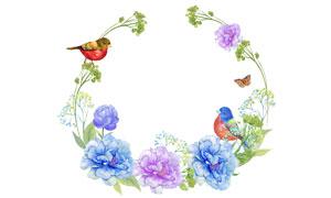 小鸟鲜花蝴蝶元素边框水彩创意图片