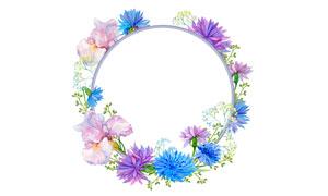 几种颜色花朵元素边框水彩创意图片