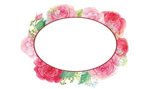 水彩创意绿叶红花边框设计高清图片