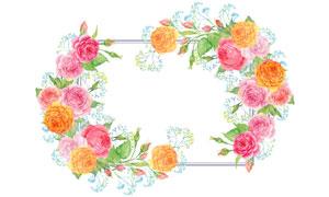 手绘水彩效果花朵边框创意高清图片