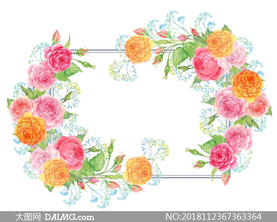 粉色花朵装饰的水彩边框高清图片         水彩创意绿叶红花