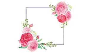 粉红色花朵装饰的水彩边框高清图片