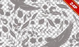 小鸟蝴蝶花纹主题背景设计高清图片