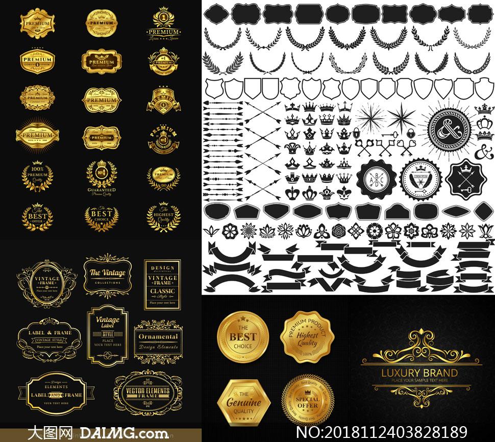 金色質感勛章獎章等矢量素材集V02