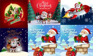 圣诞老人雪人与驯鹿等主题矢量素材