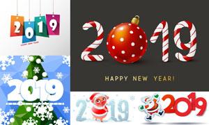 圣诞节与2019新年创意设计矢量素材