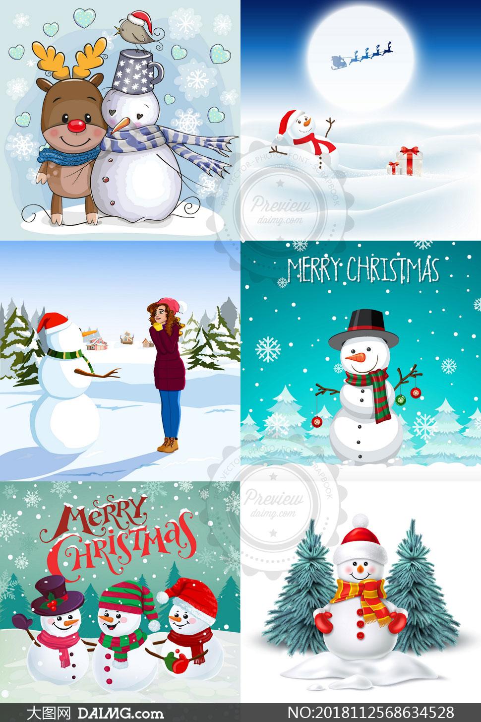 寒冷冬季卡通雪人创意设计矢量素材