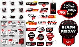 黑色星期五促销活动适用标签矢量图