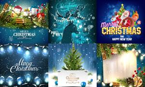 小鹿树枝等圣诞节场景设计矢量素材