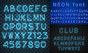 蓝色霓虹样式英文字母设计矢量素材