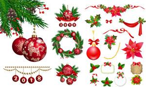挂球与花环等圣诞元素创意矢量素材