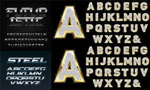 金属质感英文字母设计矢量素材集V01