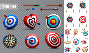 命中靶心的箭主题创意设计矢量素材