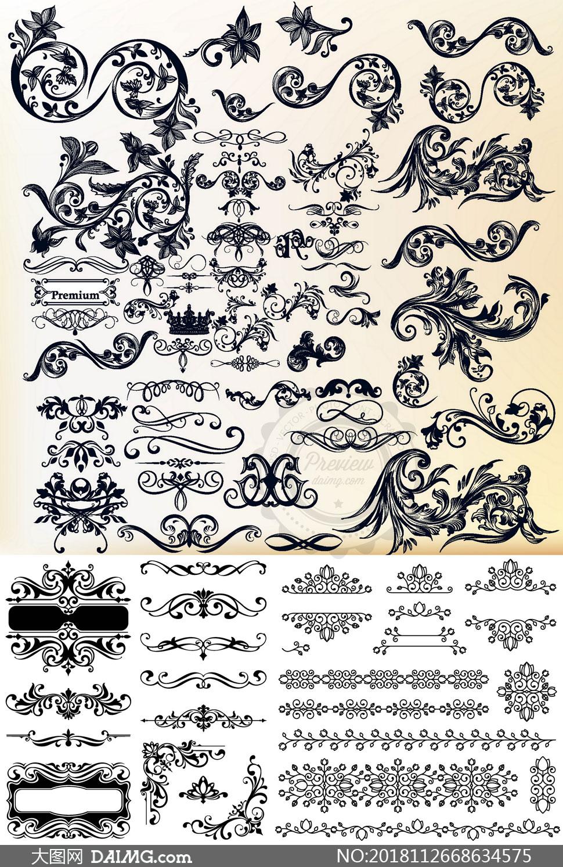 欧式风格花纹边框装饰元素矢量素材