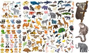 斑马骆驼与鲨鱼等动物主题矢量素材