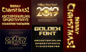 金色光效装饰英文字母创意矢量素材