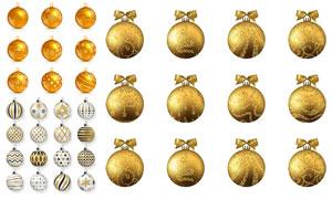 金色逼真质感圣诞挂球设计矢量素材