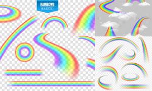 逼真效果云朵彩虹主题设计矢量素材