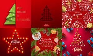 圣诞树与礼物盒等创意设计矢量素材