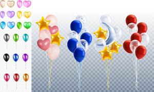 多彩气球与充气效果五角星矢量素材